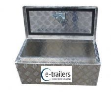 "Aluminium Chequer Plate Truck Trailer Storage Locking Tool Box - 28"" x 14"" x 14"""
